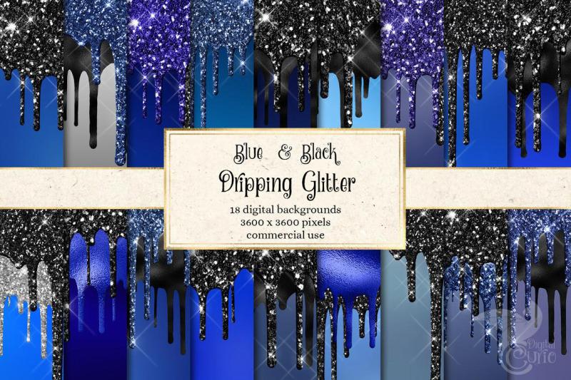 blue-and-black-dripping-glitter-digital-paper