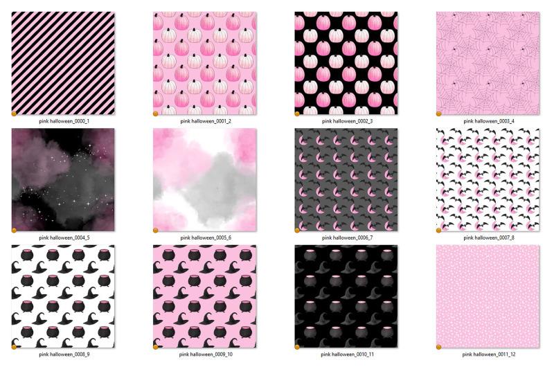 cute-pink-and-black-halloween-digital-paper