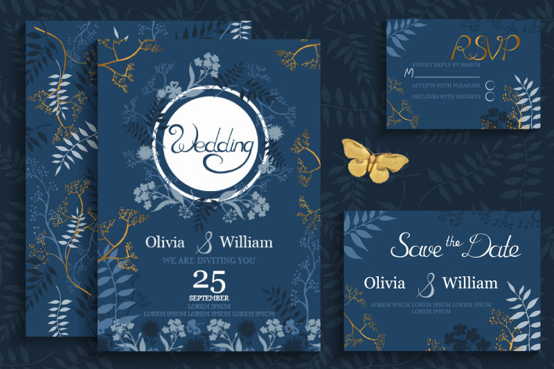 blue-amp-amp-gold-wedding-cards-template-vector