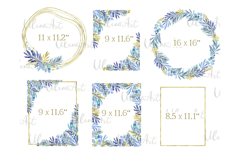 watercolor-winter-christmas-frame-clipart-wreath-png-blue-golden-new-y