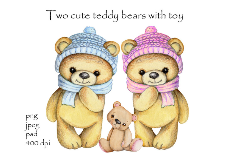 two-cute-teddy-bears-with-toy-bear