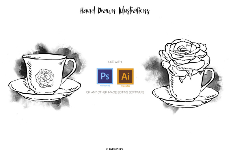 26-hand-drawn-tea-cups-teapots-and-roses-vector-illustrations