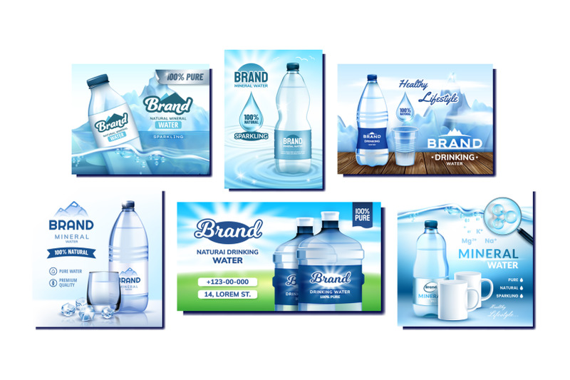 mineral-water-creative-promo-posters-set-vector