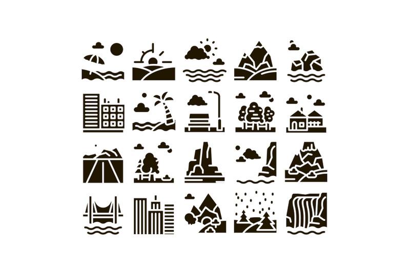 landscape-travel-place-glyph-set-vector