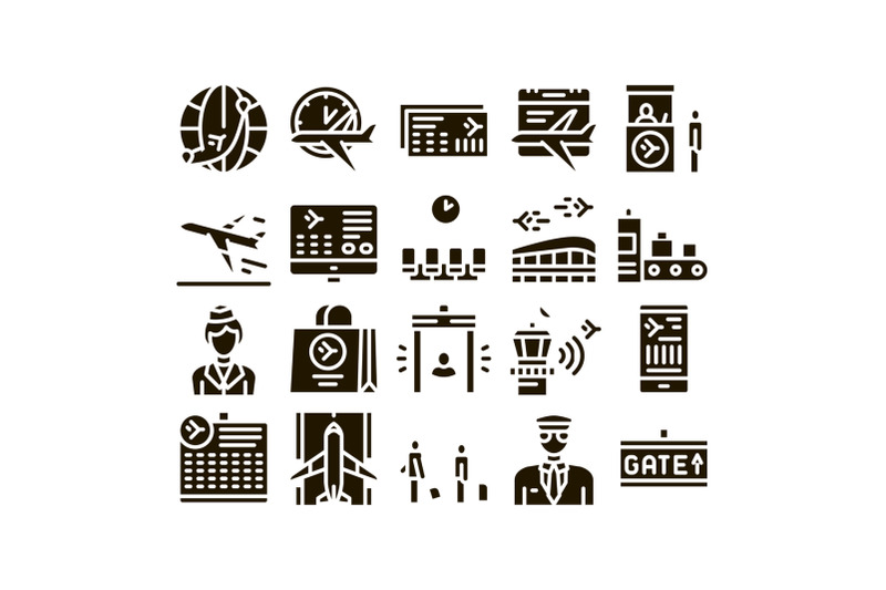 airline-and-airport-glyph-set-vector