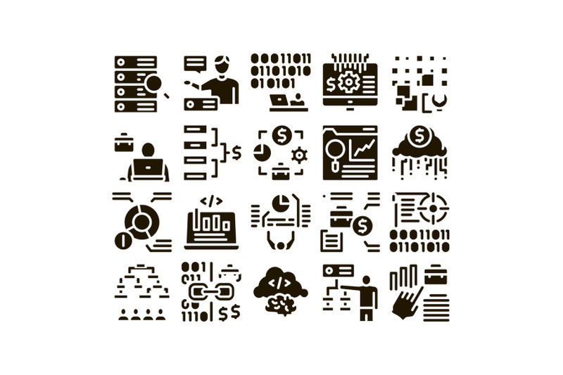 data-scientist-worker-glyph-set-vector