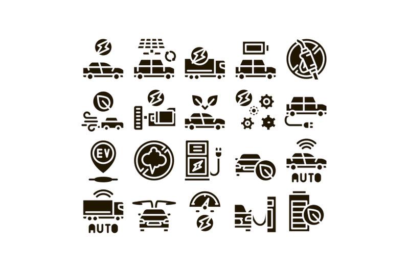 electric-car-transport-glyph-set-vector