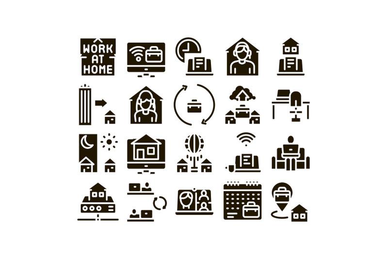 remote-work-freelance-glyph-set-vector