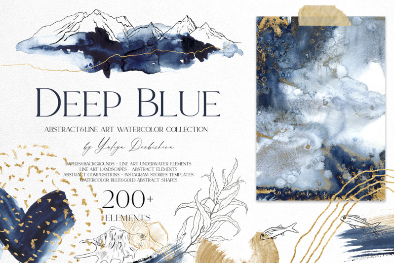 deep-blue-abstract-and-line-art-watercolor-set