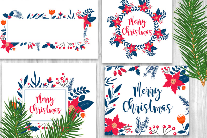 merry-christmas-winter-plants-set