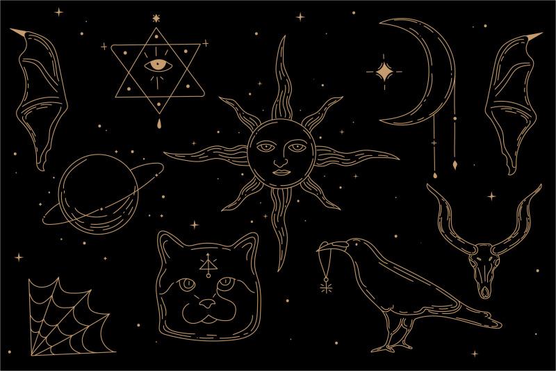 occultism-set-of-esoteric-symbols-sun-crow-cat-skull