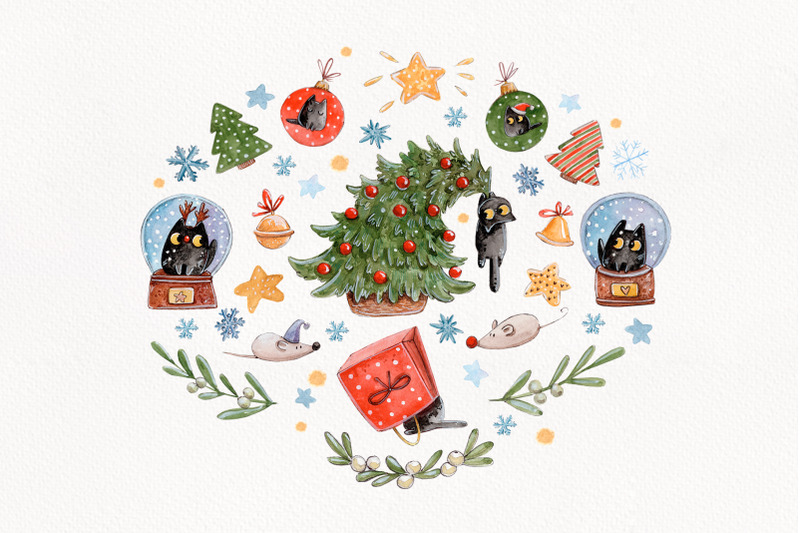 quot-merry-catsmas-quot-christmas-set