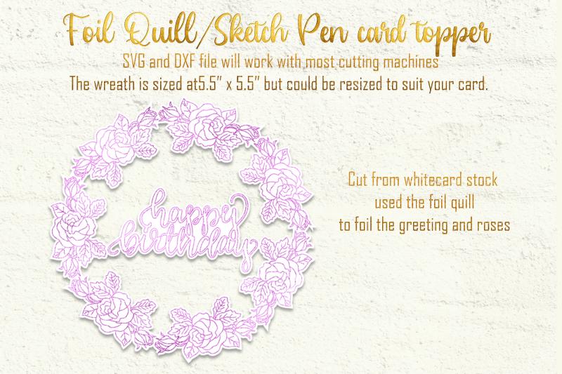 single-line-foil-quill-sketch-pen-rose-wreath-happy-birthday