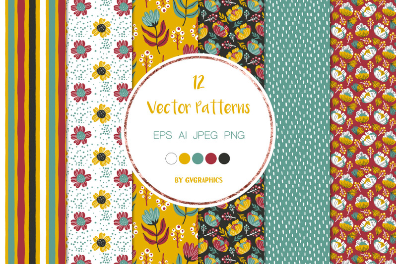 12-colorful-vector-patterns-with-flowers-leaves-and-berries