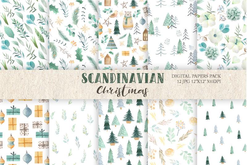 watercolor-scandinavian-christmas-digital-paper-pack
