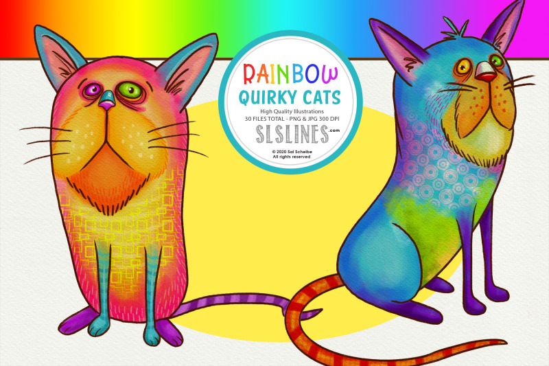 rainbow-quirky-cat-illustrations-png-clipart