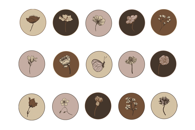 instagram-highlight-botanical-icon-15-covers-to-create-story