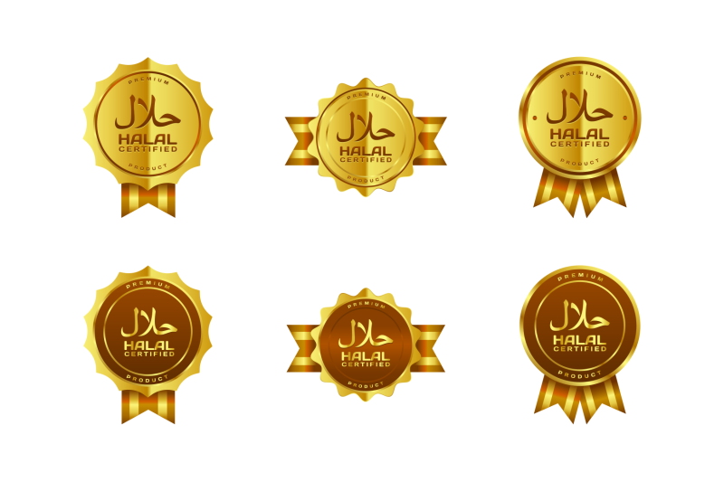 vector-golden-halal-certified-badges-with-arabic-writing-and-ribbon
