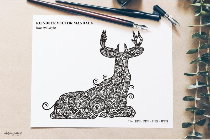 reindeer-vector-mandala-line-art-style