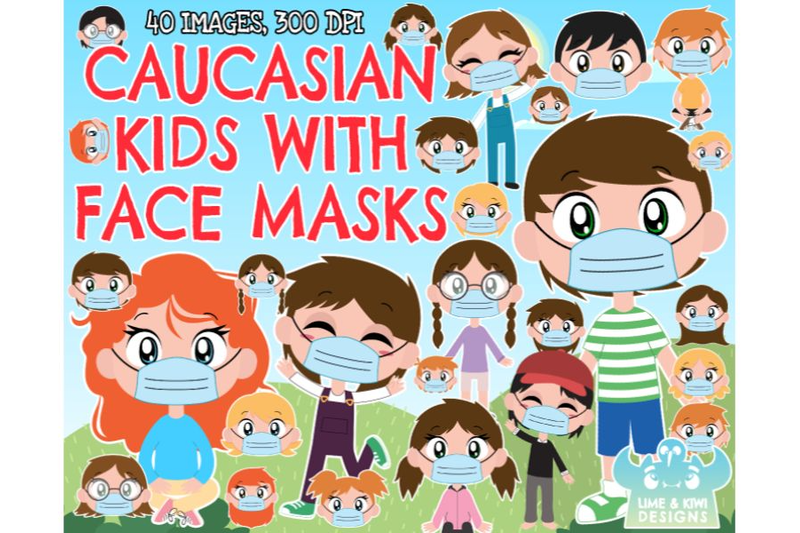 caucasian-kids-with-face-masks-clipart-lime-and-kiwi-designs