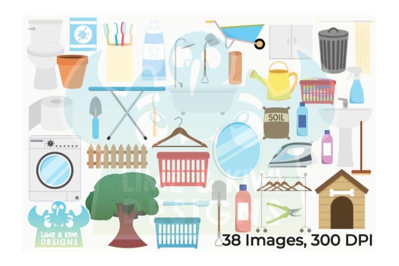 around-the-house-1-garden-bathroom-laundry-room-clipart