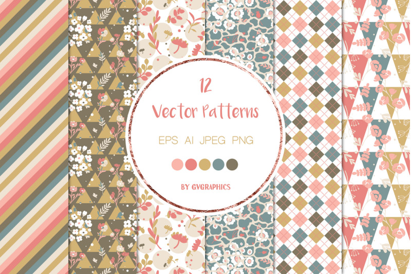 12-abstract-flowers-and-geometric-shapes-vector-seamless-patterns