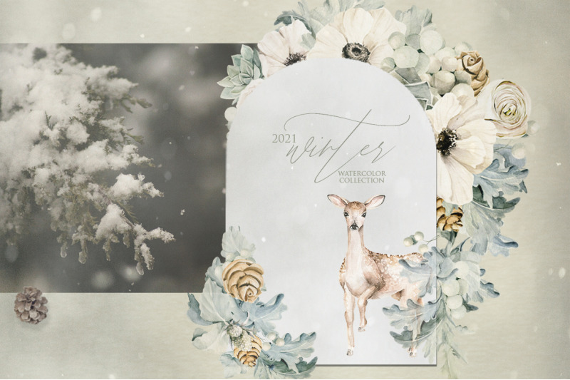floral-forest-and-deer-watercolor-clipart