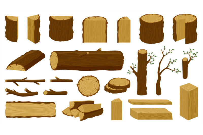 wooden-timbers-tree-trunk-woodwork-planks-and-logging-twigs-lumber