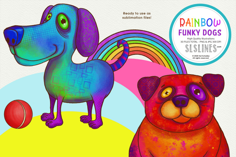 rainbow-funky-dog-illustrations-png-clipart