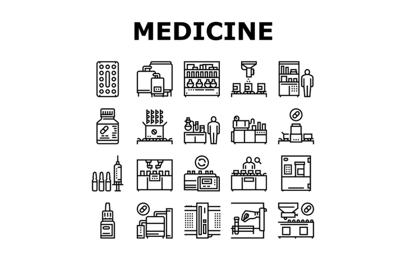 medical-drugs-production-factory-icons-set-vector