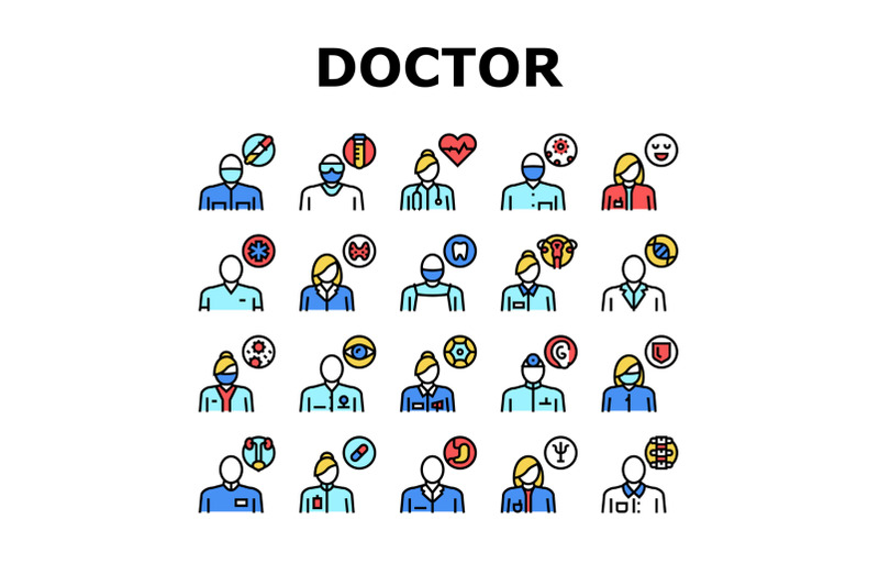 medical-speciality-collection-icons-set-color-vector