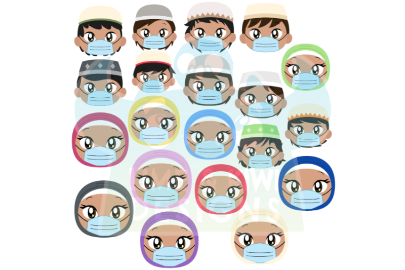 islamic-muslim-kids-with-face-masks-clipart-lime-and-kiwi-designs