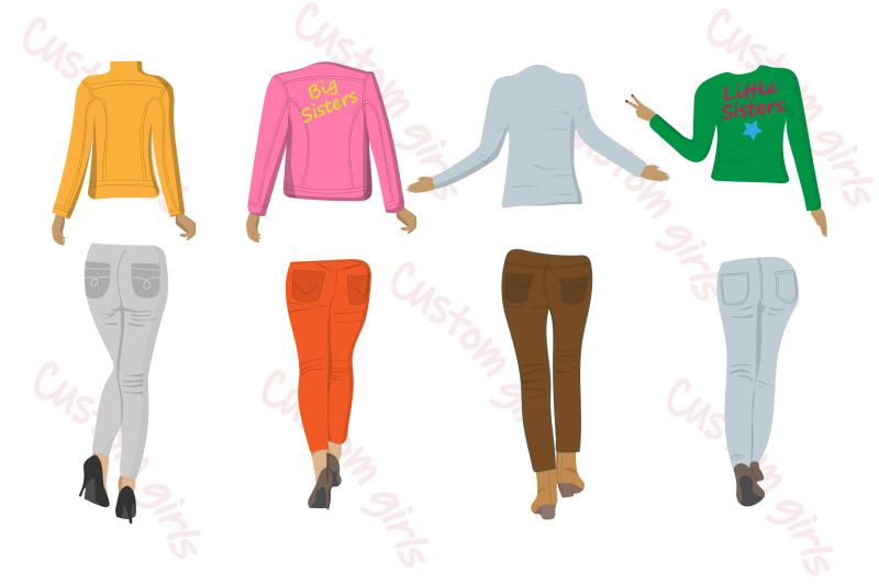best-friends-clipart-girls-back-view-custom-girls-jeans-girl