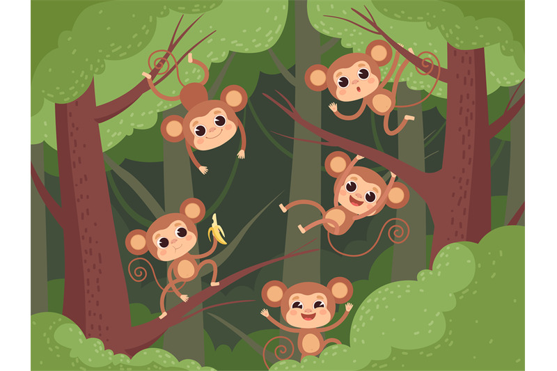 monkey-in-jungle-wild-little-animals-playing-on-tree-and-liana-and-ch