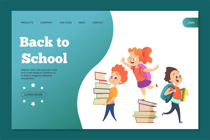 back-to-school-landing-template-web-banner-with-vector-cartoon-studen