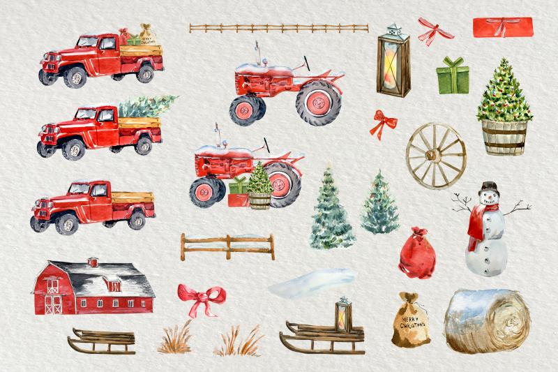 winter-on-the-farm-clip-art-set