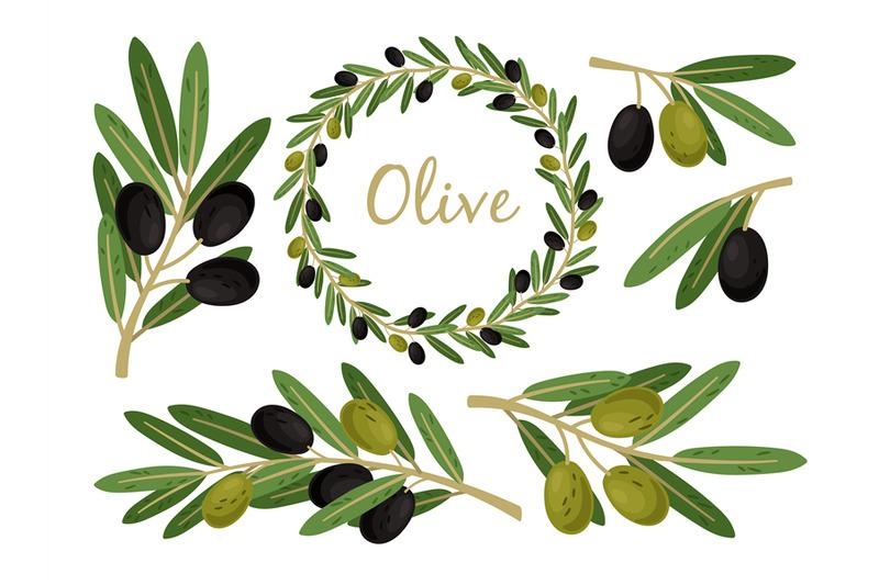 olives-branches-and-olive-crown-greek-olives-branch-and-wreath-set-v