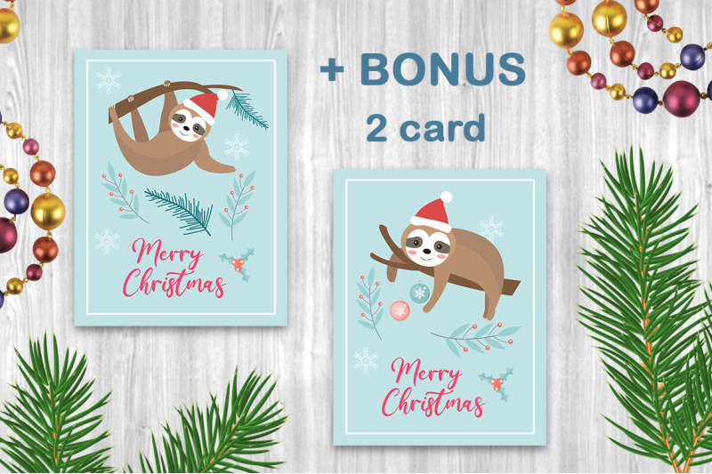 cute-sloth-merry-christmas-set