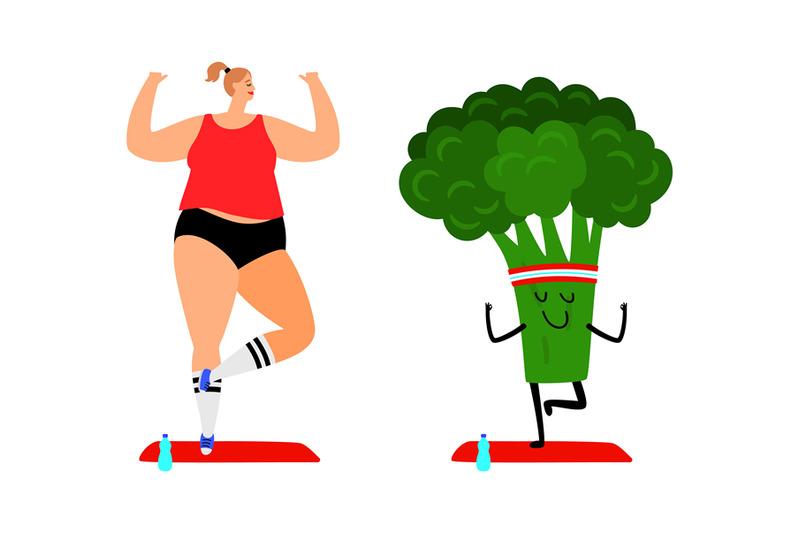 woman-and-broccoli-do-yoga