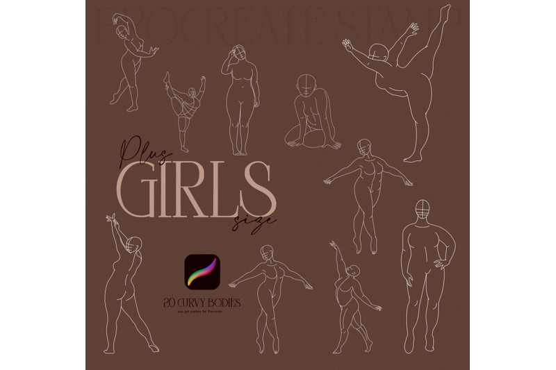 girls-plus-size-curly-bodies-women-poses-stamp-for-procreate