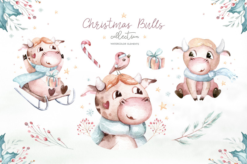 christmas-cute-bulls-collection