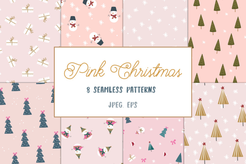 pink-christmas-pattern-collection