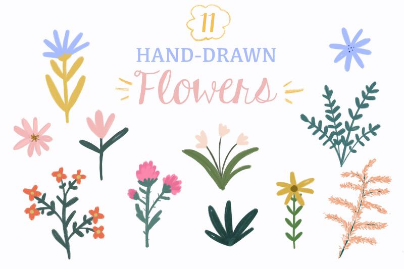 gouache-handdrawn-flowers-clipart