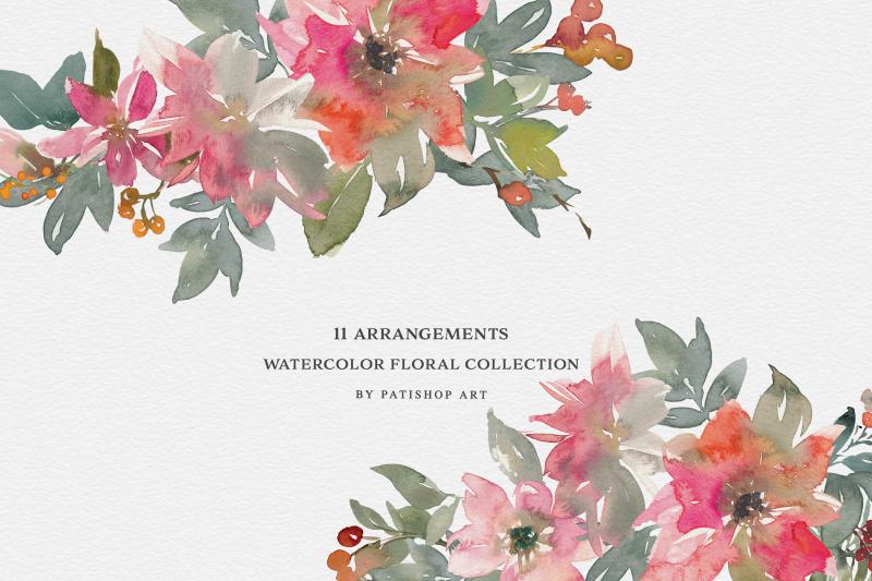 watercolor-poinsettia-amp-berries-clipart-set