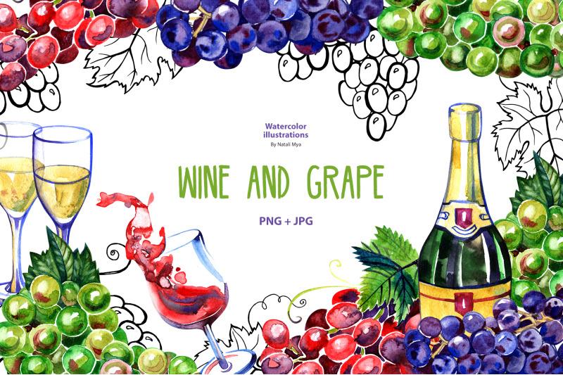 watercolor-wine-and-grape