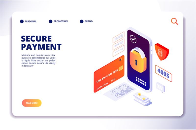 secure-payment-isometric-concept-mobile-online-security-cash-payments