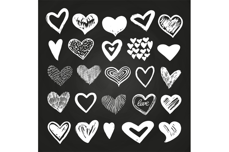 sketch-white-vector-hearts-set-on-blackboard