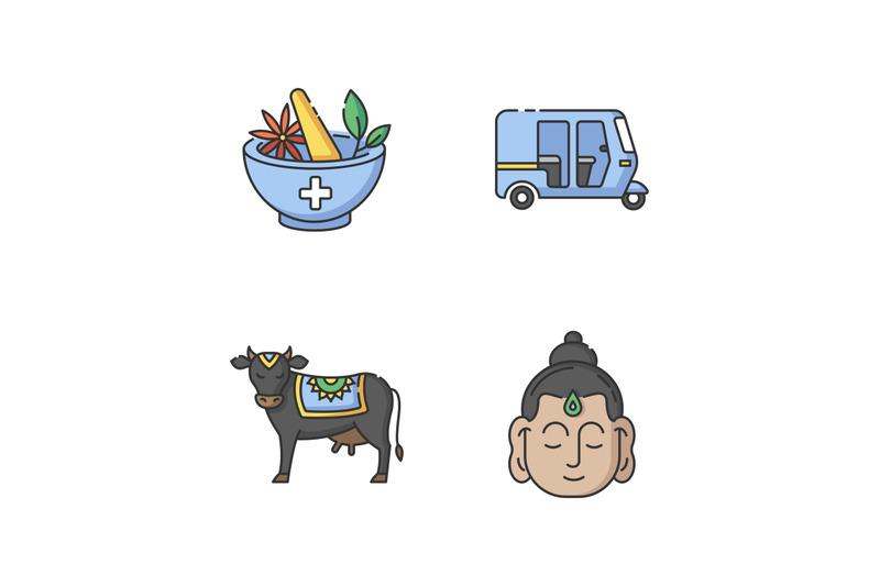 indian-culture-rgb-color-icons-set