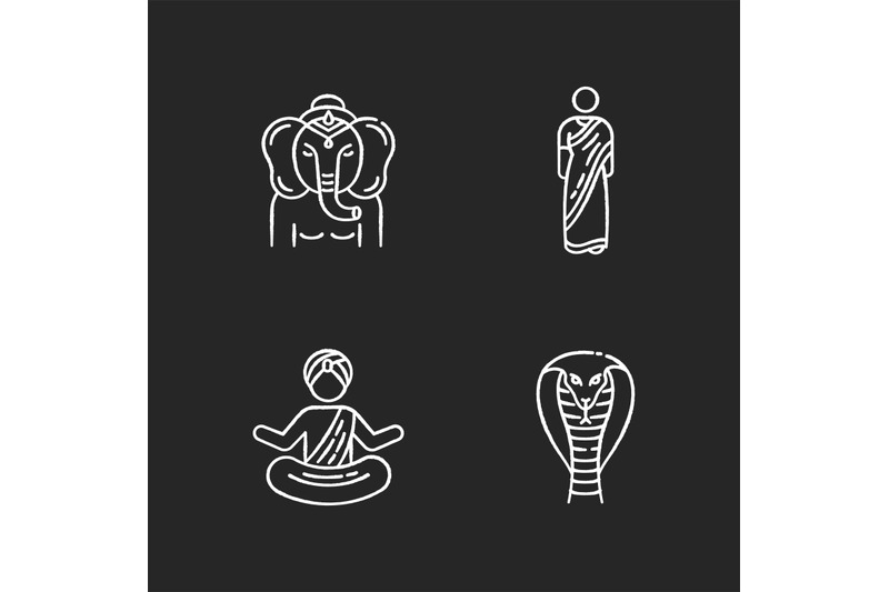 indian-culture-chalk-white-icons-set-on-black-background