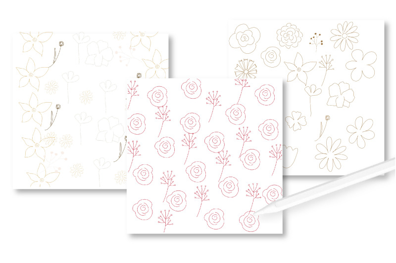 flowers-procreate-stamps-line-art-flowers-brushes-doodle-stamps-bot